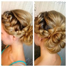 Beautiful Bridal Hair. Low Bun and side braid.  Stylist from Mirror Mirror Salon & Spa