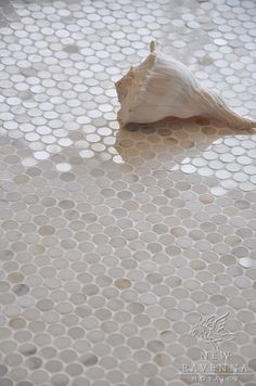2 cm Pennyrounds shown in Calacatta Gold polished (New Ravenna Mosaics)-- gold tone for master bath carpet and/or shower floor? Penny Round Tiles, Penny Tile, Hex Tile, Subway Tile, Bathroom Floor Tiles, Tile Floor, Room Tiles, Beige Tile Bathroom, Stone Shower Floor