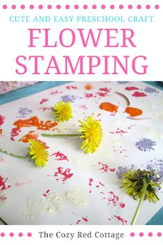 Stamping with flowers-preschool craft