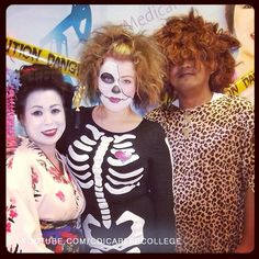 CDI College Calgary South Campus Students on the Halloween Day - Geisha, Skeleton Girl and Caveman #CDICollege #CalgarySouth #campus #students #Halloween #fun #themes #geisha #skeleton #girl #caveman #bones #bonystructure #body #cage #carcass #corpse #deceased #mort #remains #stiff