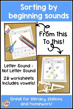 Sorting Beginning Sounds Worksheets Kindergarten Curriculum, Kindergarten Reading, Teaching Reading, Number Line Activities, Alphabet Activities, Teaching Sight Words, Teaching Phonics, Reading Stations, Literacy Stations