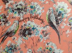#Vintage Happy Birthday Wrapping Paper With Birds and Flowers #ephemera sold at #BirchTreeLane on etsy