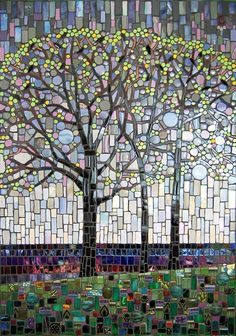 Rain Chorus by Michael Sweere -Mosiac Creating modern fine art from reclaimed materials. Mosaic Artwork, Mosaic Wall, Mosaic Glass, Mosaic Tiles, Stained Glass, Glass Art, Mosaics, Fused Glass, Mosaic Crafts