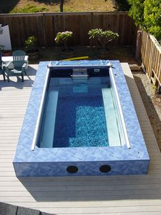 A great spot for an Endless Pool is on the backyard deck. Crystal clear water just steps outside the door!