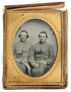 North Carolina Brothers. circa 1862, the quarter plate image on clear glass is housed in a half case, its subjects being two Gantt Family brothers from Belwood in Cleveland County, North Carolina.