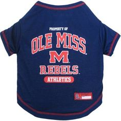 Pets First Collegiate Mississippi Ole Miss Rebels Pet T-shirt, Assorted Sizes, Multicolor