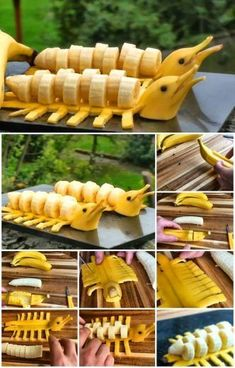DIY Banana Dolphins Step by Step Tutorial - Food Carving Ideas : DIY Banana Dolphins Step by Step Tutorial - Food Crafts, Diy Food, Kreative Snacks, Fruits Decoration, Deco Fruit, Comida Diy, Creative Food Art, Creative Ideas, Food Art For Kids