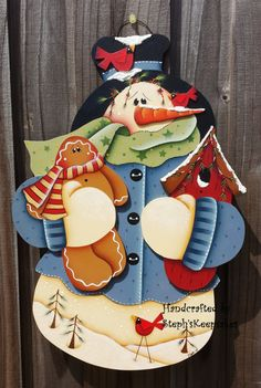 Frosty Snowman Wall Hanging Christmas by stephskeepsakes on Etsy