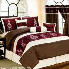 7 Piece Bed In A Bag, COUNTRY LANE Burgundy Red / Brown FAUX SILK Comforter Set - KING Size Bedding by Grand Linen, http://www.amazon.com/dp/B00B5EDD8G/ref=cm_sw_r_pi_dp_h.dirb1MWFRSX