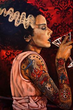 Bride Cocktail by Mike Bell Bride of Frankenstein Tattoo Art Print