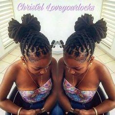 Rockin' The Locs: Photo Short Locs Hairstyles, Girl Hairstyles, Black Hairstyles, Hairdos, Dreads Styles For Women, Dreadlock Styles, Locs Styles, Coiffure Hair, Hair Updo