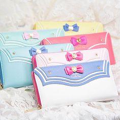 Cartoon sweet bowknot sailor zipper wallet