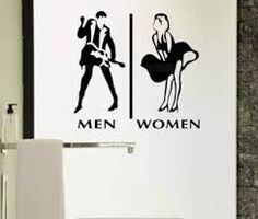 Store company toilet man and woman WC sign sticker icon wall sticker Unisex Bathroom Sign, Bathroom Signs, Restroom Signs, Funky Bathroom, Toilet Signage, Toilet Door Sign, Washroom Design, Toilet Design, Vintage Advertising Posters