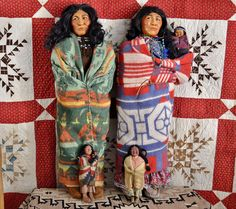 """Spectacular Pair of Vintage Store Display Skookum Indian Dolls with Papoose 37 """" in Dolls & Bears, Dolls, By Type 