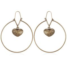 Etro Women Heart Pendant Hoop Brass Earrings ($150) ❤ liked on Polyvore featuring jewelry, earrings, antique gold, heart pendant, brass earrings, vintage hoop earrings, heart shaped pendant and gold tone earrings