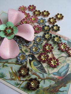 8 Vintage Swarovski Assorted  Crystal Flowers