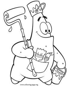 SpongeBob SquarePants - Patrick Star as a painter coloring page