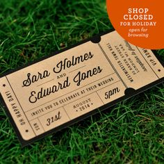 Rustic Recycled Ticket Wedding Invitation - 'Just the Ticket' Design - One Sample