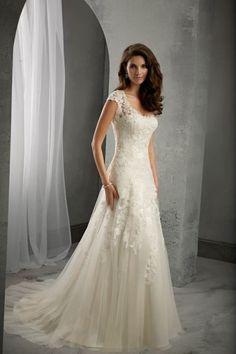 Graceful Cap Sleeve Scoop Neck Ivory White Lace Tulle Wedding Dress Custom Size