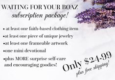 Waiting for Your Boaz Subscription Package-The Blessing Bag-Spiritual Self Care Goodie Package • Waiting for Your Boaz Shop