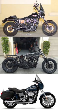 The top photo is my bike as of last week. The middle photo is how it sat as of this morning: completely stripped to a rolling chassis with motor and suspension only. The bottoms photo is of a 2003 FXDXT. When my bike comes back home in two weeks, that is the stance in which she will stand. This is the final overhaul for the year, and I can't wait until she's wrapped up and ready to ride for the summer. Now it's time to start planning next winters build.