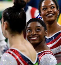 NBC Olympics @NBCOlympics  Aug 9 All smiles 😃  #Rio2016  Gabrielle Douglas, Simone Biles,