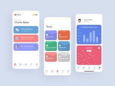 Mental Health App designed by Igor Savelev for isavelev. Connect with them on Dribbble; Web Design, App Ui Design, Mobile App Design, Interface Design, Health App, Mental Health, App Design Inspiration, Mobile App Ui, Cognitive Behavioral Therapy