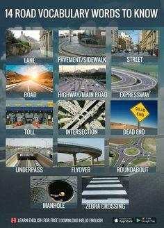 Road Vocabulary Words Hello English, English Fun, English Writing, English Study, English Class, English Lessons, English Grammar, Learn English For Free, Learn English Words