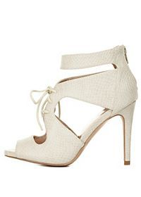 Snake-Textured Cut-Out Lace-Up Heels