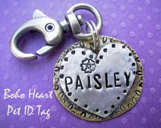 Boho Heart Pet Id Tag is hand stamped antiqued with bohemian gold backplate soldered to silver heart with your loving pet's name and phone number on the back - on etsy, $22.95