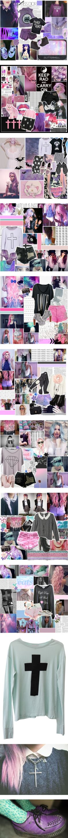 """""""pastel goth"""" by mari-rasella ❤ liked on Polyvore"""