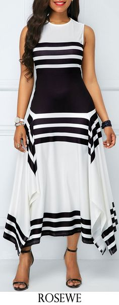 Asymmetric Hem Stripe Print Sleeveless Midi Dress.#Rosewe#dress#summeroutfit