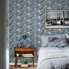 Första stora bilden av tapetern Fredsfåglar blå