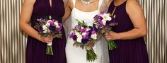 Bring purple into your look with fowers. Bouquets by Fleur-tatious Floral Design