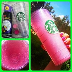 DIY Glitter up your Starbucks cup! I saw this on pinterest last night & I just happened to have spray adhesive (aka Butt Glue!), glitter (of course I have glitter!!) & double walled Starbucks cup which I use for my green smoothies. It's not quite as sparkly as I was hoping because I used super fine makeup/eye safe quality glitter. Definitely use cheap chunkier craft glitter if you want more sparkle. It's still pretty!!