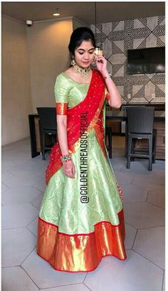 Lehenga Saree Design, Half Saree Lehenga, Lehnga Dress, Indian Lehenga, Lehenga Designs, Saree Blouse Designs, Anarkali, Half Saree Function, Langa Voni