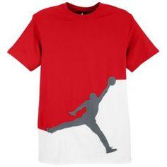 Jordan Jumbo Graphic Tee - Men's - Basketball - Clothing - Varsity Red/Cool Grey/White  ***size medium***