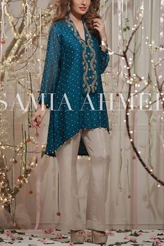 Royal Blue Embroidered Kurti by Samia Ahmed