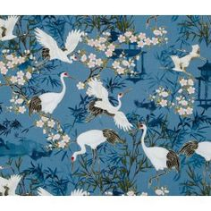 Kabuki Cranes Oriental Cotton Fabric by Timeless Treasures
