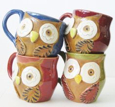 Love this! Mr Owl Ceramic Mug  Choose Your Color Retro by BackBayPottery, $24.00