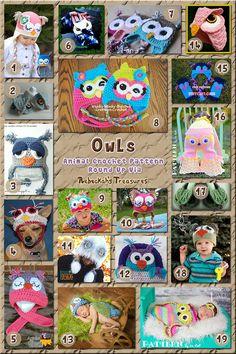 Owl Hats & Apparel - Animal Crochet Pattern Round Up Part 1 via Crochet Birds, Crochet Kids Hats, Crochet Quilt, Crochet Round, Cute Crochet, Crochet Animals, Knit Crochet, Owl Patterns, Crochet Toys Patterns