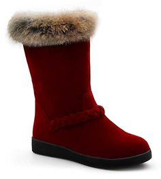 CHFSO Womens Fashion Solid Waterproof Faux Fur Lined Mid Calf Low Heel Platform Winter Warm Snow Boots Red 6 BM US -- Click image for more details.