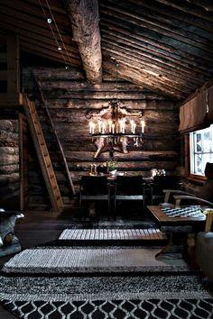 Mountain home, rustic dark interior design living room Dark Interiors, Rustic Interiors, Interior Design Living Room, Interior Decorating, Bathroom Interior, Rue Verte, Cozy Cabin, Winter Cabin, Cabin Loft