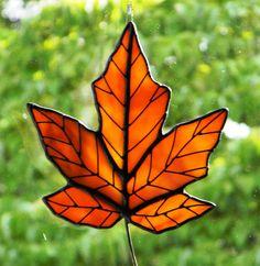 Golden Orange Maple Leaf Sun Catcher
