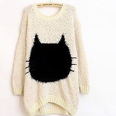 Women's Round Neck Long Cat Sleeve Bat Type Sweater - USD $ 14.99