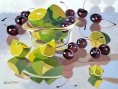 """Saatchi Art Artist Leigh-Anne Eagerton; Painting, """"Cherries and Lime"""""""