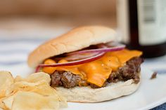 Cheeseburger with Hand-Chopped Beef, Pan-Fried to Crispy Perfection