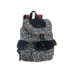 Sakroots Arist Circle Flap Backpack ($79) ❤ liked on Polyvore featuring bags, backpacks, black and white spirit desert, women's, flap backpack, pattern backpack, travel daypack, shoulder strap backpack and tablet backpack