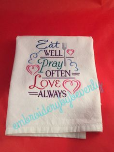 New Spiritual towel Christian towel. Eat by embroiderybybeverly