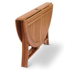 The Brazilian Eucalyptus Foldaway Table - Hammacher Schlemmer